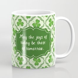 Irish Blessing Shamrocks Pattern Coffee Mug