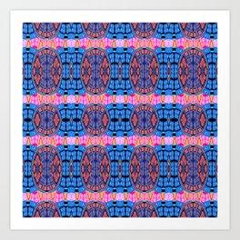 Vintage Modern African Fabric Print Cool Tones Art Print