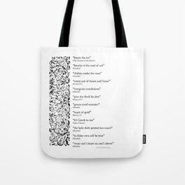 Words Words Words - William Shakespeare Quotations print Tote Bag