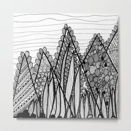 Black & White Mountains Metal Print