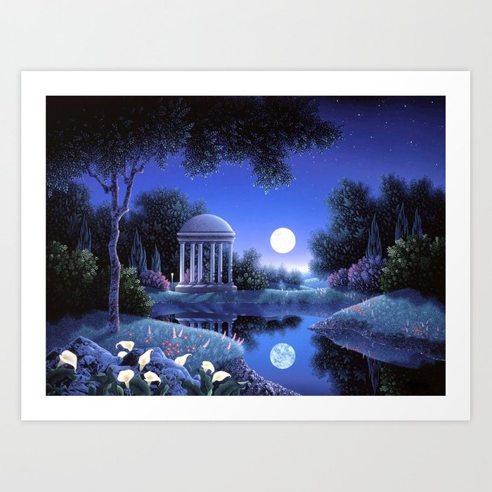 Lakes Colors Gazebo Attractions Nature Flowers Landscapes Cool Glowing Reflections Love Scenery Brig Art Print By Gouravart
