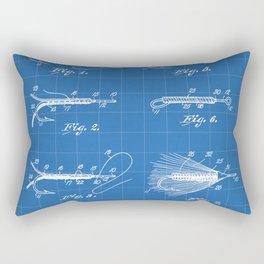 Fly Fishing Patent - Fisherman Art - Blueprint Rectangular Pillow