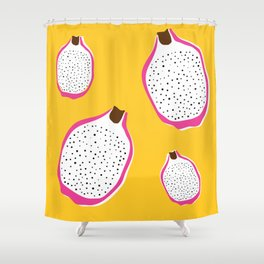 Bright Dragonfruit Print Shower Curtain