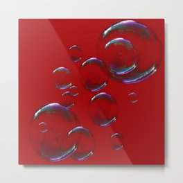 IRIDESCENT SOAP BUBBLES  ON  DARK RED COLOR Metal Print