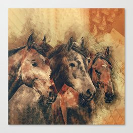 Galloping Wild Mustang Horses Canvas Print
