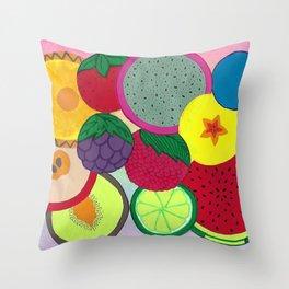 Fruity Circular Slices Throw Pillow