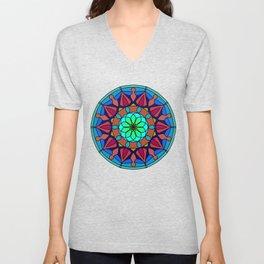 Hand-drawn colored mandala Unisex V-Neck