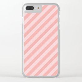 Classic Blush Pink Glossy Candy Cane Stripes Clear iPhone Case