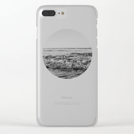 Black and White Pacific Ocean Waves Clear iPhone Case