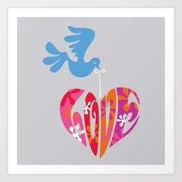 Retro Bird and Love Heart Art Print