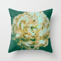 Floral Flower Art - Retro Rose Black and Pink Vintage Flowers Throw Pillow