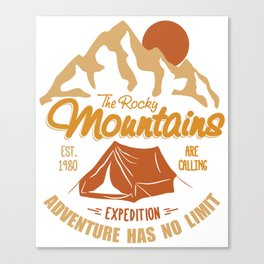 Vintage Retro Rocky Mountains Hiking Camping Gift Canvas Print
