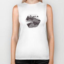 Mountain Peaks Digital Art Biker Tank