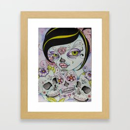 Lady Calavera - Day of the Dead Girl Pin Up Art Framed Art Print