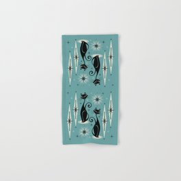 Mid Century Meow Retro Atomic Cats on Blue Hand & Bath Towel