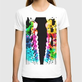 Urban light and LACMA, USA with colorful painting abstract in blue pink green red yellow T-shirt