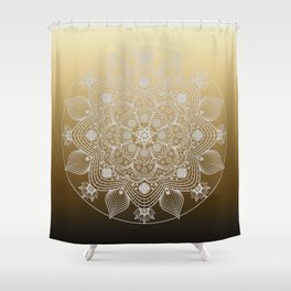 White Lace Floral Mandala of Flowers and Leaves on Golden Ombre Background Shower Curtain
