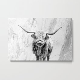 Highland Cow on Marble Black and White Metal Print