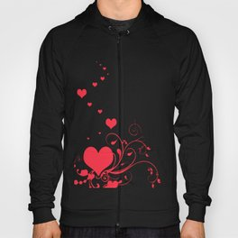Red Valentine Hearts on A White Background Hoody