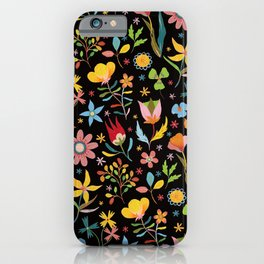 Dream Florals, Black Background iPhone Case