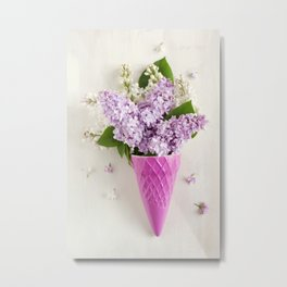 lilac flowers in ice cream cone Metal Print