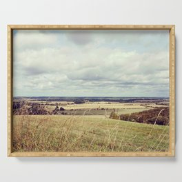 Rural hilly landscape. Serving Tray