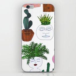 Planter Faces in White Woodgrain iPhone Skin