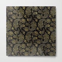 Golden Embossed Paisley pattern on black Metal Print