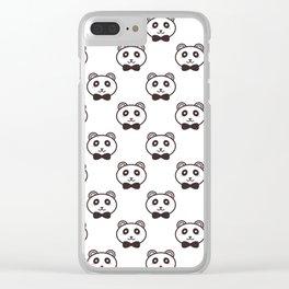 Cute pandas on white Clear iPhone Case