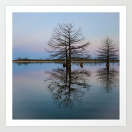 Tree Reflecting in Lake-I Art Print