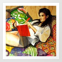 reading Art Prints featuring Reading by Madelyne Joan Templeton