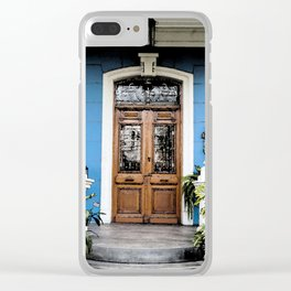 vintage blue house Clear iPhone Case