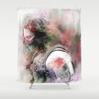 winter soldier Shower Curtains featuring Winter Soldier by NKlein Design