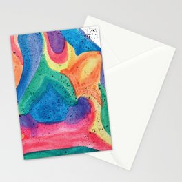 Facing Colors: Abstract Rainbow Painting Stationery Cards