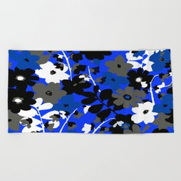 SUNFLOWER TRELLIS BLUE BLACK GRAY AND WHITE TOILE Beach Towel