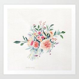Flowers Bouquet Watercolor Art Print