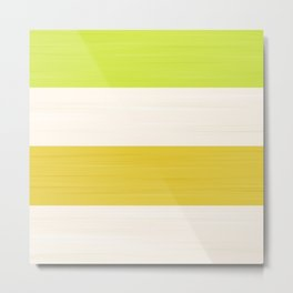 Brush Stroke Stripes: Key Lime Pie Metal Print