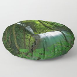 Waterfall in the Azores Floor Pillow