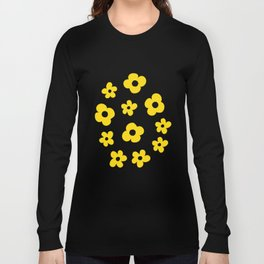 White Yellow Spring Flower Pattern Long Sleeve T-shirt
