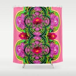 PINK PEONIES GREEN ABSTRACT GARDEN ART Shower Curtain