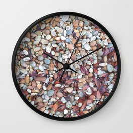 Colorful pebbles and leaves in autumn season #pebbles #nature Wall Clock