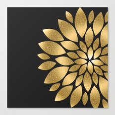 Pretty gold faux glitter abstract flower illustration Canvas Print