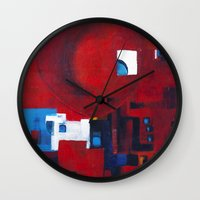 ballon Wall Clocks featuring Red ballon by Nathalie Gribinski