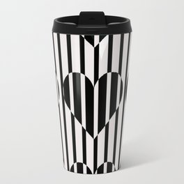 Black and White Stripe Hearts Design Travel Mug