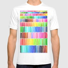 PRISMATIC RAINBOW Mens Fitted Tee White MEDIUM