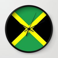 jamaica Wall Clocks featuring Jamaica Flag by Barrier Style & Design