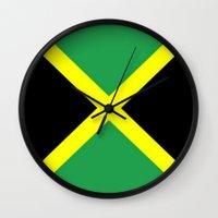 jamaica Wall Clocks featuring Jamaica Flag by D.A.S.E. 3