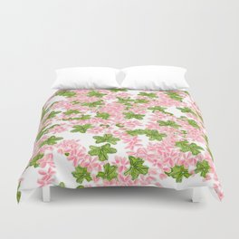 Modern hand painted pink watercolor flowers and green tropical leaf pattern Duvet Cover