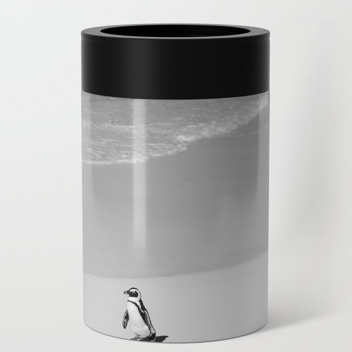 Lone African Penguin walking on beach Can Cooler