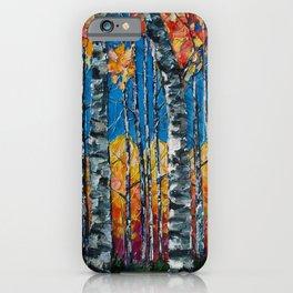 Colorado Aspen Grove Palette Knife Painting  iPhone Case